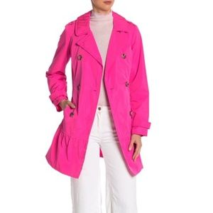 Kate Spade Flounce Hem Electric Pink Trench Coat